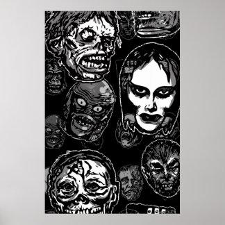 Máscaras do monstro do filme de terror (b&w) pôsteres