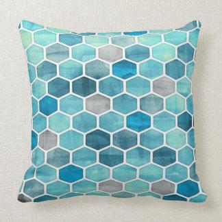 Máscaras do travesseiro decorativo geométrico azul almofada