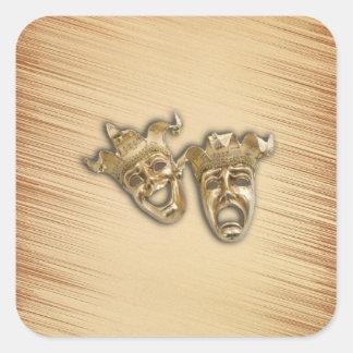 Máscaras rústicas do teatro da comédia e da adesivo quadrado