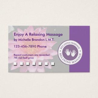 Massagem reconfortante cartão de visitas