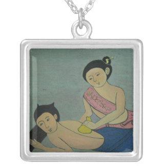 Massagem tradicional tailandesa da ioga colar banhado a prata
