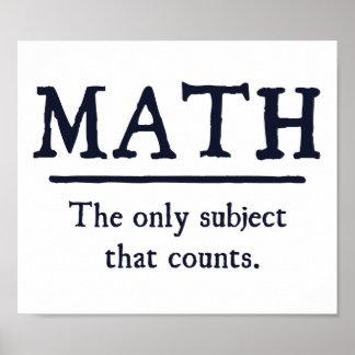 Matemática o único assunto que conta póster