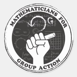 Matemáticos para etiquetas da ação de grupo
