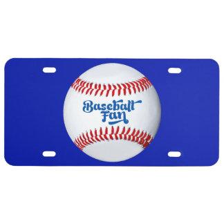 Matrícula do tema do fã de basebol
