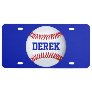 Matrícula personalizada do tema do basebol