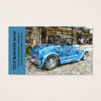 Mecânico de automóvel clássico azul automotriz do cartão de visita
