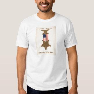 Medalha Eagle da guerra civil da união da bandeira Camisetas