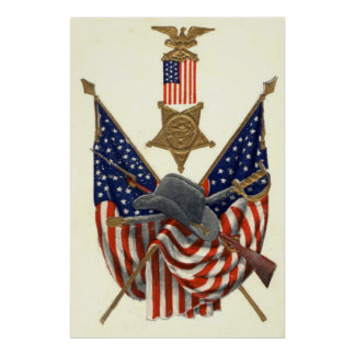 Medalha Eagle da guerra civil da união da bandeira Poster