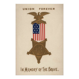 Medalha Eagle da guerra civil da união da bandeira Pôster