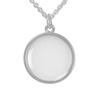 Medalhão Customizado de Prata de Lei Colar Com Pendente Redondo