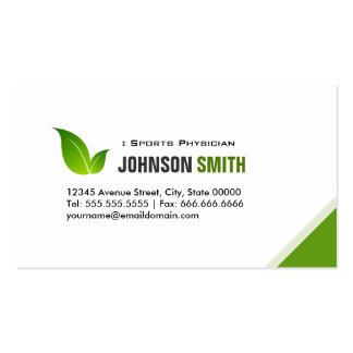 Médico dos esportes - folha verde elegante cartão de visita