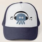 Medusa azuis Funky com o boné do DJ dos fones de