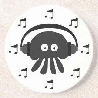 Medusa pretas do DJ, fones de ouvido & notas Porta Copos De Arenito