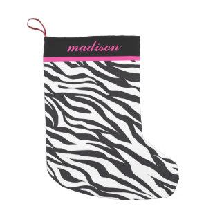 Meia cor-de-rosa e preta do monograma do impressão meia de natal pequena
