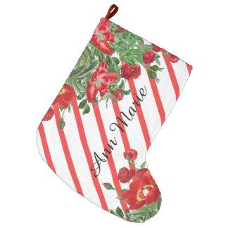 Meia De Natal Grande A peônia dos rosas de Natal floresce o estoque das