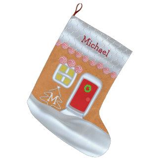 Meia De Natal Grande Meia do Natal do monograma da casa de