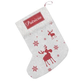 Meia De Natal Pequena Alces vermelhos e meia vermelha do Natal dos