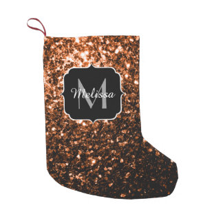 Meia De Natal Pequena Brown alaranjado de bronze brilha monograma dos