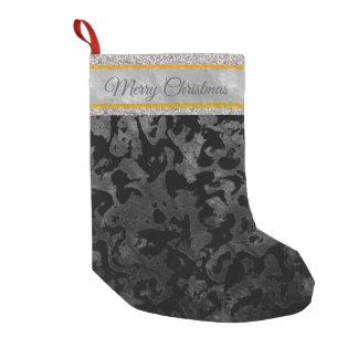 Meia De Natal Pequena Camuflagem cinzenta preta e escura de Camo moderno