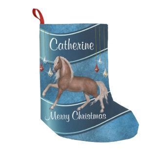 Meia De Natal Pequena Cavalo no azul com Feliz Natal dos ornamento