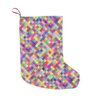 Meia De Natal Pequena Colorido em quadrados do papel de gráfico