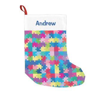 Meia De Natal Pequena Consciência personalizada do autismo do teste