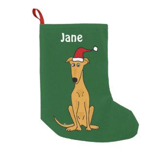 Meia De Natal Pequena Galgo engraçado na meia do Natal do chapéu do