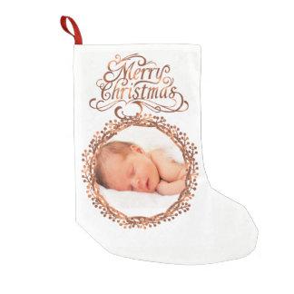 Meia De Natal Pequena grinalda da baga do Cobre-olhar & roteiro do Feliz