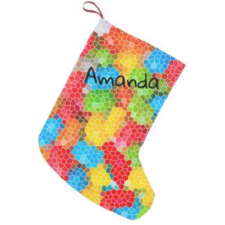 Meia De Natal Pequena Teste padrão chique colorido personalizado