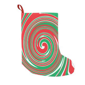 Meia De Natal Pequena Teste padrão do redemoinho do vermelho e do verde