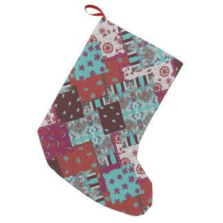 Meia De Natal Pequena Teste padrão rústico de paisley dos retalhos
