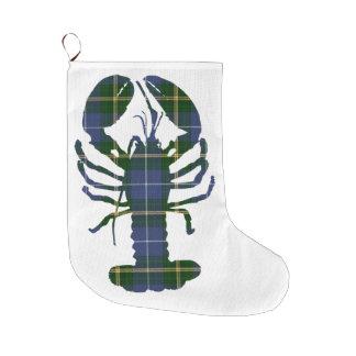 Meia do Natal da lagosta do Tartan de Nova Escócia Bota De Natal Grande
