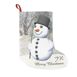 Meia do Natal do monograma do boneco de neve Bota De Natal Pequena