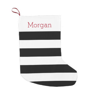 Meia listrada preto e branco bota de natal pequena