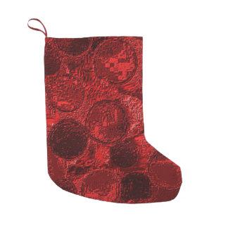 Meia Textured falso do Natal de Borgonha do Bota De Natal Pequena