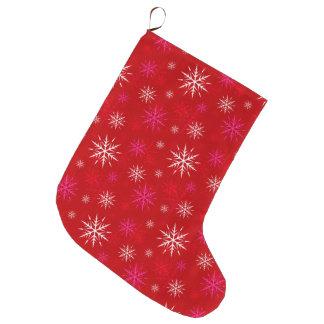Meia vermelha do Natal do teste padrão do floco de Bota De Natal Grande