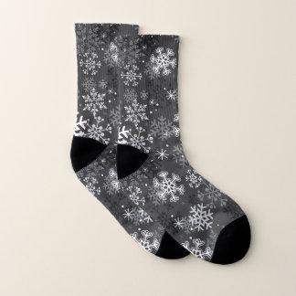 Meias cinzentas do impressão do floco de neve