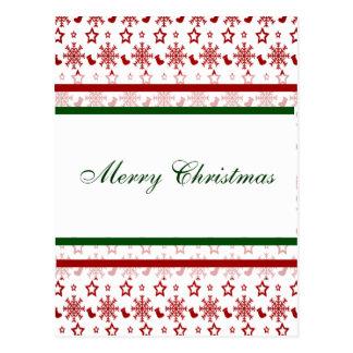 Meias e flocos de neve do Feliz Natal Cartão Postal