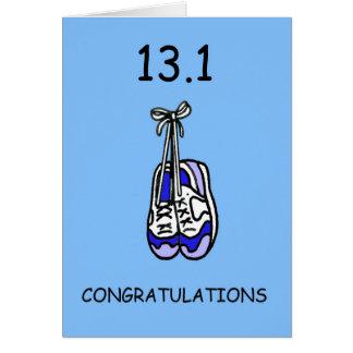 Meias felicitações masculinas da maratona cartão comemorativo