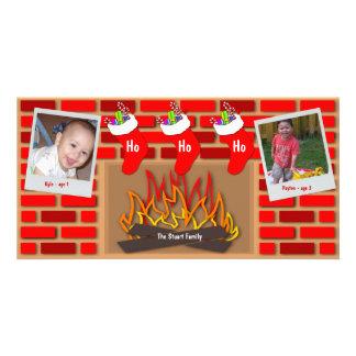 Meias pelo cartão do feriado da lareira cartão com foto