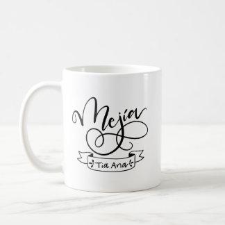Mejia, Tia Ana, entrega indicado por letras Caneca De Café