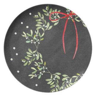 Melamina da grinalda da placa do Natal do quadro Louças De Jantar