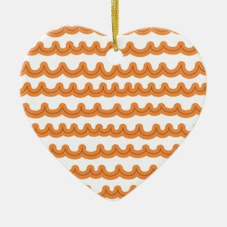 Melão lunático das ondas de oceano ornamento de cerâmica coração