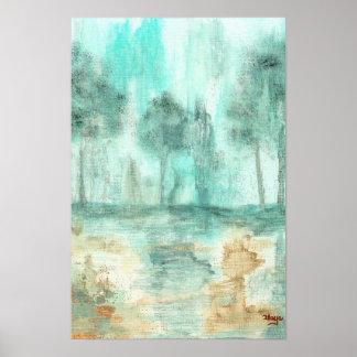 Memória, pintura abstrata da arte das árvores da poster