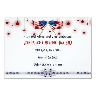 Memorial Day patriótico das bandeiras e das Convite 8.89 X 12.7cm