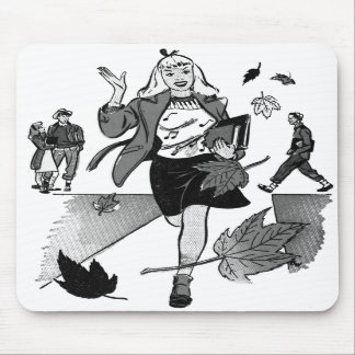 Menina adolescente da banda desenhada do vintage d mousepad
