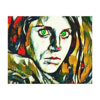 Menina afegã com óleo abstrato dos olhos verdes