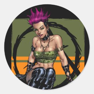 Menina alternativa do punk rock de cabelo adesivo