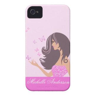 Menina bonito com a caixa corajosa de Blackberry d Capa iPhone 4
