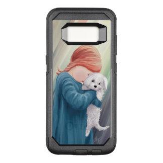 Menina bonito com cão branco capa OtterBox commuter para samsung galaxy s8